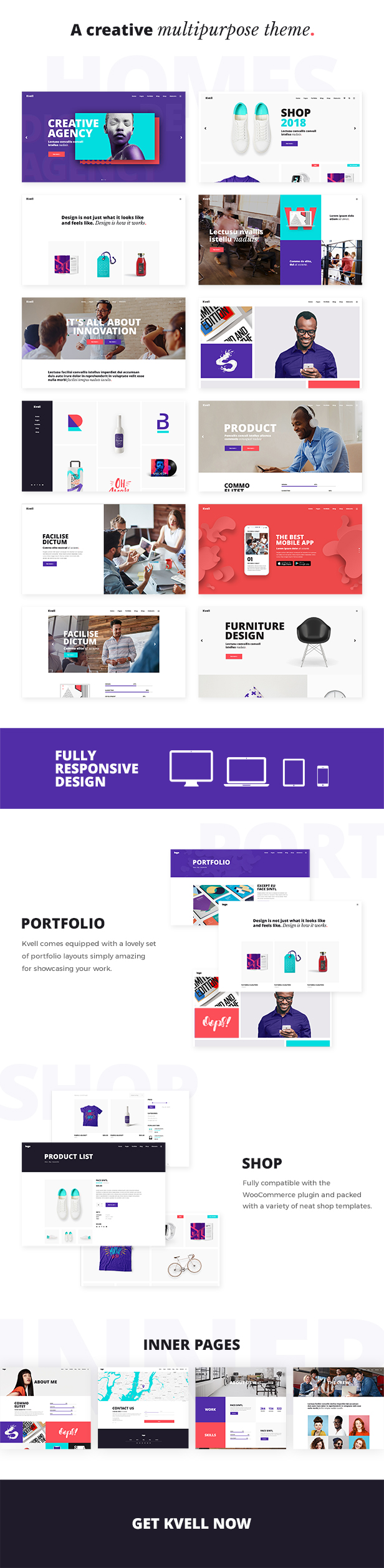 WordPress theme Kvell - A Creative Multipurpose Theme for Freelancers and Agencies (Creative)